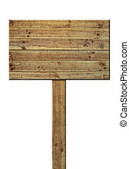 old wooden signpost with scratches isolated on white ...