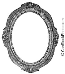 Old wooden silver plated oval Frame Isolated on white