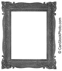 Old wooden silver plated rectangle Frame Isolated on white
