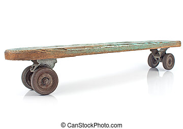 Old wooden skateboard on white background