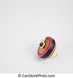 Old wooden spinning top toy (2)