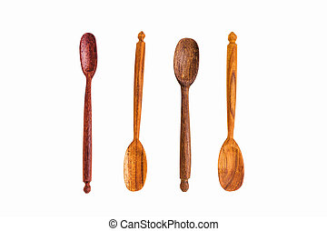Old wooden spoons Isolated on white background.