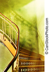 old wooden stairs in the house with the sun