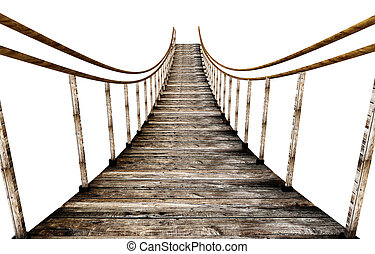 Old wooden suspended bridge isolated on white background. 3D...