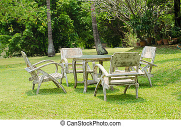 Old wooden table in the garden