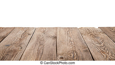 Old wooden table isolated on white background