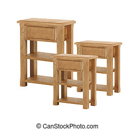 Old wooden table or stool isolated