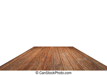 Old wooden table top isolated on white background