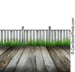 terrace - old wooden terrace and white background