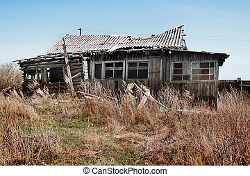old wooden thrown house