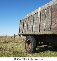 Old wooden trailer.