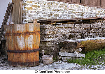 Old wooden tub.