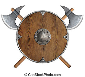 old wooden vikings' shield and two crossed axes isolated -...
