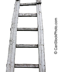 Old wooden vintage cuve ladder isolated over white...