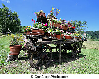 old wooden wagon festooned with many pots of flowers in the meado