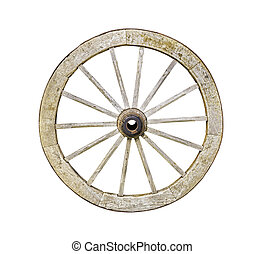 Old wooden wheel from a cart isolated