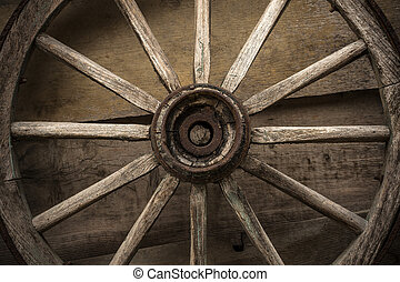 Old wooden wheel on a wooden wall