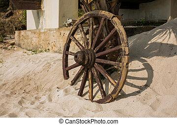 Old wooden wheel on sand.