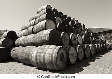 barrels - old wooden whiskey barrels outdoor