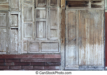Old wooden window wall texture background