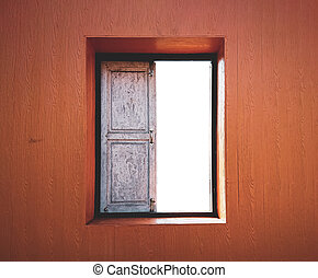 Old wooden window. Window on the wall with isolated white background