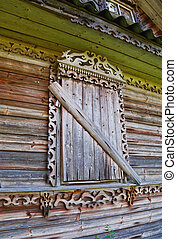 Old wooden window with ornament