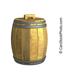 Old wooden wine a barrel - Old wooden 3d wine a barrel....