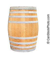Old wooden wine barrel iron ring on white background.