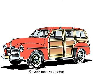 old woodie.eps - woodie rustic antique station wagon