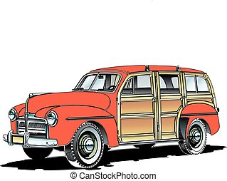 old woodie.eps - woodie rustic antique station wagon