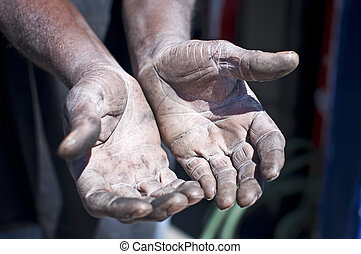 Old Working Man Hands - A man's old aged hands