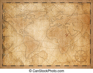 old world map background - old nautical vintage world map...