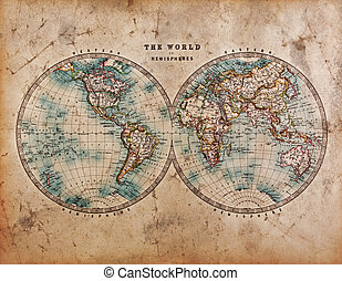 Old World Map in Hemispheres - A genuine old stained World...