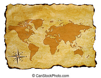 Old world map - Scroll of old burnt World Map with compass