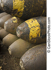 Old World War II Munitions - A stack of old WWII artillery...