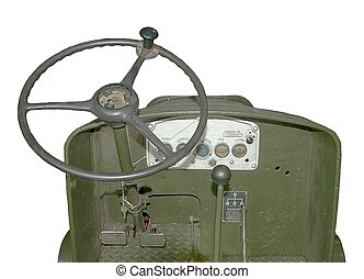 Old World War two vehicle - View from the driver%u2019s seat...