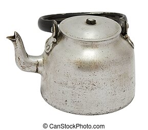 Old worn aluminum coffee kettle isolated on white background.