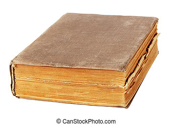Old worn book isolated on white background