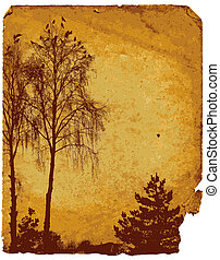 Old worn card with landscape and birds (vector)