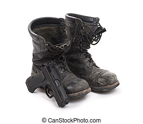 Old worn military boots