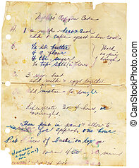 Old Worn Recipe - Old stained and torn family recipe. ...