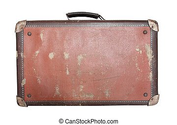Old worn traveling suitcase on white background