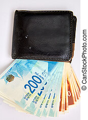Old Worn Wallet with 200 shekel Bill Isolated on White.