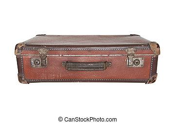 Old worn warped travel suitcase