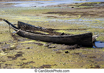 Old Wrecked Boat on a Coastal Beach