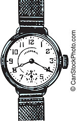 Old wristwatch  - Vector illustration of Old wristwatch