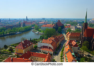 panorama of old town of Wroclaw, Poland