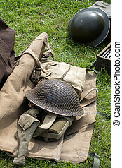 Old WW2 apparel on display at Shoreham Airfield
