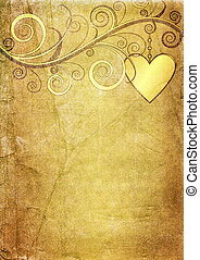 Old yellow-brown paper with vintage floral ornament and heart