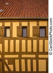 Old yellow building with windows